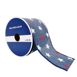 """2.5"""" Faux Linen Wired Denim Stars Ribbon by Celebrate It™ Red, White & Blue   Michaels Stores"""