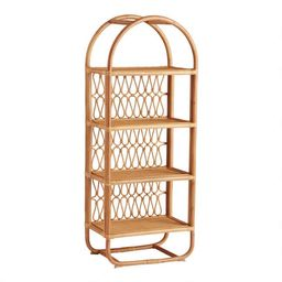 Tall Natural Rattan Arched Nylah Bookcase | World Market