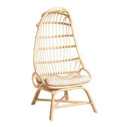 Natural Rattan Fallon Cocoon Chair with Cushion | World Market