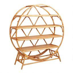 Round Natural Rattan Nylah Bookcase | World Market