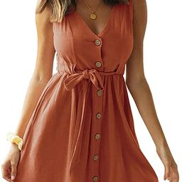Chuanqi Womens V Neck Button Down Sleeveless Summer Casual Solid Color Swing Short Mini Dress wit... | Amazon (US)