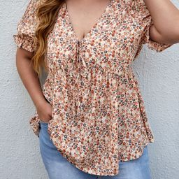 Plus Ditsy Floral Knot Front Blouse   SHEIN