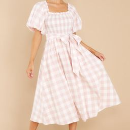 Graceful Song Pink Gingham Midi Dress   Red Dress