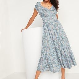 Smocked Waist-Defined Floral-Print Midi Dress for Women | Old Navy (US)