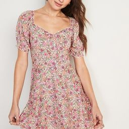 Fit and Flare Puff-Sleeve Floral-Print Mini Dress for Women | Old Navy (US)
