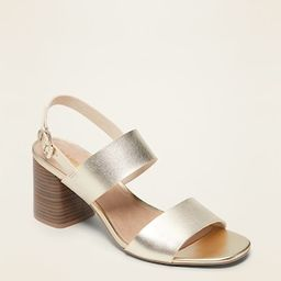 Faux-Leather Slingback Block-Heel Sandals for Women | Old Navy (US)
