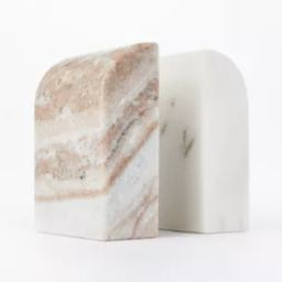 """5"""" x 3.5"""" Marble Stone Bookends Natural/White - Threshold™ designed with Studio McGee 