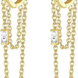 Milacolato 925 Sterling Silver Chain Hoop Earrings 18K Gold Plated Threader Dangle Earrings Carti... | Amazon (US)