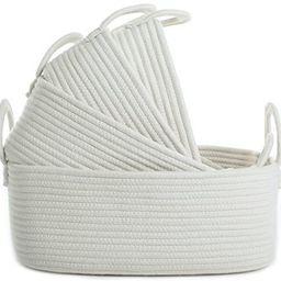 La Jolíe Muse Storage Baskets Set of 4 - Woven Basket Cotton Rope Bin, Small White Basket Organi... | Amazon (UK)