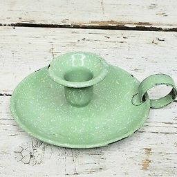 Vintage Green Spatterware Enamel Chamber Stick Metal Tin Colonial Candle Holder | eBay US