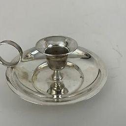 Vtg Silverplated Chamber Stick Chamberstick Candle Holder | eBay US