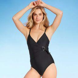 Women's Double Ring Wrap Classic One Piece Swimsuit - Kona Sol™ Black | Target