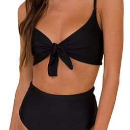 Blooming Jelly Women's High Waisted Bikini Set Tie Two Piece Swimsuit Cute Bathing Suit | Amazon (US)