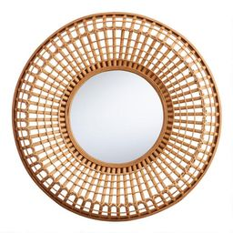 Round Natural Bamboo Woven Mirror | World Market