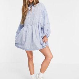 ASOS DESIGN pintuck mini smock dress in blue stripe embroidery | ASOS (Global)