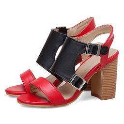 BUTITI Women's Pumps black - Red & Black Stacked Sandal - Women   Zulily