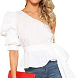 Romwe Women's One Shoulder Short Puff Sleeve Self Belted Solid Blouse Top | Amazon (US)
