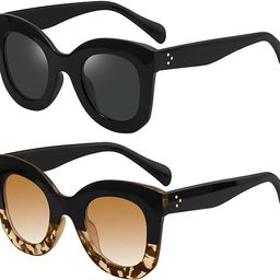 YDAOWKN Vintage Oversized Sunglasses for Women Big Thick Bold Frame Semi Cat Eye Butterfly Sungla... | Amazon (US)