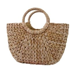 Moon Bag Fresh Yellow Grass Straw Braided Bag Rattan Bag Semi-Circle Handbag Straw Braided Bag Be...   Walmart (US)