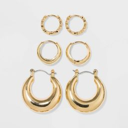 Shiny Gold Trio Hoop Earring Set 3pc - Wild Fable™ Gold | Target