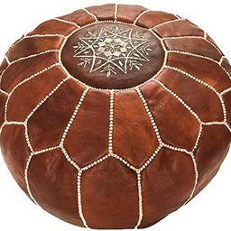 Marrakesh Gallery Moroccan Pouf Cover, Genuine Goatskin Leather - Bohemian Living Room Decor - Co... | Amazon (US)