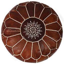 Premium Moroccan Handmade Pouf Real Leather - Oiled Dark Brown Tabacco - Ottoman , 100% Real Natu... | Amazon (US)