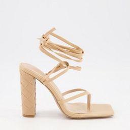 Simmi London Heera woven block heel sandals in beige   ASOS (Global)