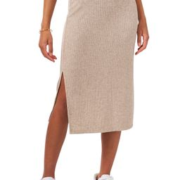 Rib Knit Side Slit Midi Pencil Skirt | Nordstrom