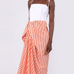 Corset Dress With Sarong Skirt Orange Stripe | The Webster