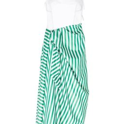 Corset Dress With Sarong Skirt Green Stripe | The Webster
