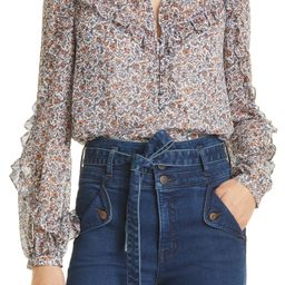 Abra Floral Print Ruffle Blouse   Nordstrom