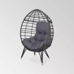 Santino Wicker Teardrop Chair Gray/Dark Gray - Christopher Knight Home   Target