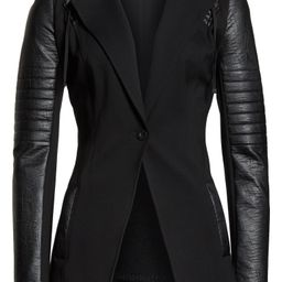 Hooded Moto Blazer with Faux Leather Sleeves | Nordstrom