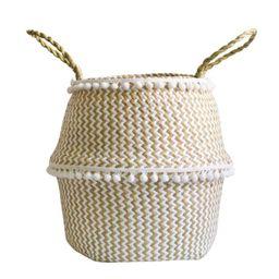 Foldable Handmade Folding Wicker Grass Weaving White Pattern with Small Plush Balls Flower Basket...   Walmart (US)