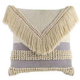 """Better Homes & Gardens Handcrafted Fringed Loop Stripe Decorative Throw Pillow, 18""""x18"""", Ivory   Walmart (US)"""