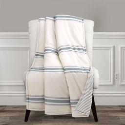 Lush Decor Farmhouse Stripe Cotton-Polyester Reversible Throw, 60x50, Blue, Single   Walmart (US)