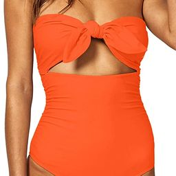 QINSEN Womens Sexy Strapless Tie Knot Front High Waist One Piece Swimsuit | Amazon (US)