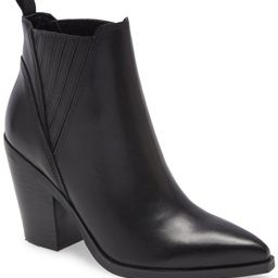 Slide 1 of 2MARC FISHER Gadri Pointed Toe Bootie, Main, color, BLACK LEATHERSize InfoTrue to size... | Nordstrom