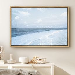 PixonSign Framed Canvas Print Wall Art Blue Ocean Waves Along Beach Shore Nature Wilderness Photo...   Walmart (US)