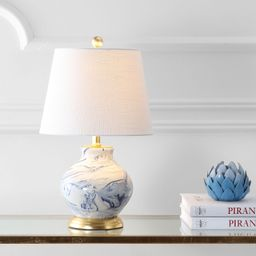 "Holly 20.5"" Marbleized Ceramic LED Table Lamp, Blue/White   Walmart (US)"