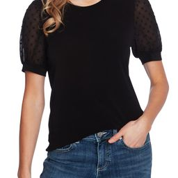 Puff Sleeve Mixed Media Top   Nordstrom