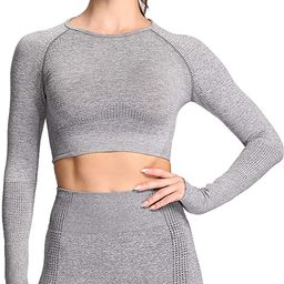 Aoxjox Women's Vital Seamless Workout Long Sleeve Crop Top Gym Sport Shirts   Amazon (US)