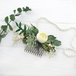 Succulent hair piece Thistle headpiece Ivory flower comb Greenery hair piece Flower hair piece fo...   Etsy (US)