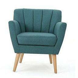 Merel Mid-Century Modern Fabric Dark Teal / Natural Club Chair  | eBay | eBay US