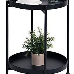 Metal End Table 2-Tier Small Side Table Round Coffee Table for Sofa Living Room 689999301338 | eB... | eBay US