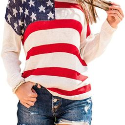 BRUBOBO Womens Color Block Pullover Sweaters Striped Long Sleeve American Flag Graphic Knit Sweat... | Amazon (US)