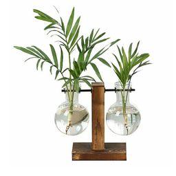 Willstar Desktop Glass Planter Bulb Vase Transparent Vase with Retro Solid Wooden Stand for Hydro...   Walmart (US)