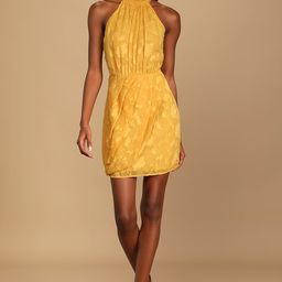 Chic Demeanor Yellow Floral Jacquard Halter Mini Dress | Lulus (US)