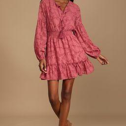 Keeper of Hearts Marsala Burnout Floral Ruffled Mini Dress | Lulus (US)