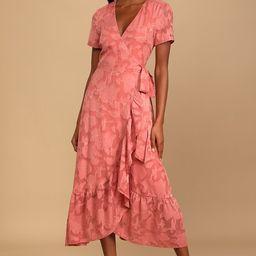Blissfully Rusty Rose Jacquard Short Sleeve Wrap Midi Dress | Lulus (US)
